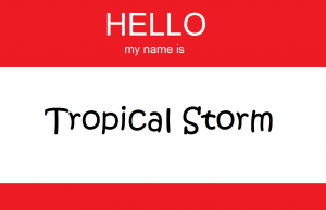 Red Hello Name Tag - Tropical Storm